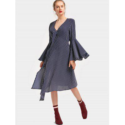 Buy PURPLISH BLUE M Low Cut Flare Sleeve Striped Asymmetric Dress for $32.66 in GearBest store