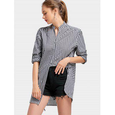 Buy CHECKED L Side Lace Up Notched Checked Blouse for $27.27 in GearBest store