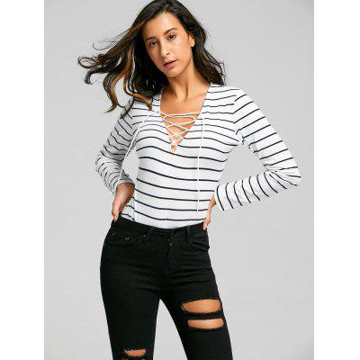 Lace Up Long Sleeve Striped BodysuitJumpsuits &amp; Rompers<br>Lace Up Long Sleeve Striped Bodysuit<br><br>Embellishment: Criss-Cross<br>Fit Type: Regular<br>Material: Polyester, Spandex<br>Package Contents: 1 x Bodysuit<br>Pattern Type: Striped<br>Season: Fall, Spring<br>Style: Fashion<br>Weight: 0.2200kg<br>With Belt: No