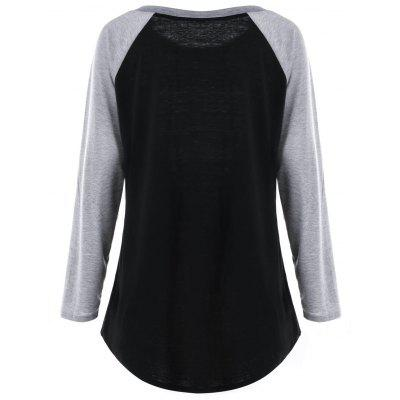 Plus Size Button Detail Two Tone TopPlus Size Tops<br>Plus Size Button Detail Two Tone Top<br><br>Collar: Round Neck<br>Embellishment: Button<br>Material: Polyester, Spandex<br>Package Contents: 1 x Top<br>Pattern Type: Solid<br>Season: Spring, Fall<br>Shirt Length: Long<br>Sleeve Length: Full<br>Style: Casual<br>Weight: 0.3000kg