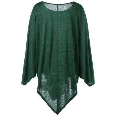 Asymmetric Plus Size Cape TopPlus Size Tops<br>Asymmetric Plus Size Cape Top<br><br>Collar: Round Neck<br>Material: Cotton Blends, Spandex<br>Package Contents: 1 x Top<br>Pattern Type: Solid<br>Season: Fall, Spring<br>Shirt Length: Long<br>Sleeve Length: Full<br>Style: Fashion<br>Weight: 0.3120kg