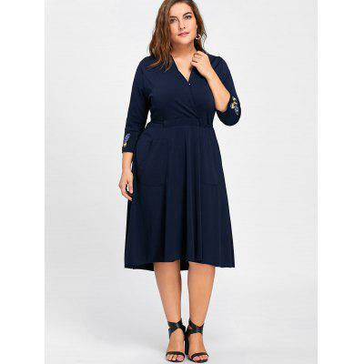 Plus Size Butterfly Embroidered Midi Formal DressPlus Size Dresses<br>Plus Size Butterfly Embroidered Midi Formal Dress<br><br>Dresses Length: Mid-Calf<br>Embellishment: Button,Embroidery<br>Material: Polyester<br>Neckline: V-Neck<br>Package Contents: 1 x Dress<br>Pattern Type: Insect<br>Season: Fall, Winter<br>Silhouette: Ball Gown<br>Sleeve Length: 3/4 Length Sleeves<br>Style: Work<br>Weight: 0.7700kg<br>With Belt: No