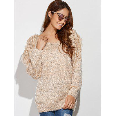 V Neck Fringe Tunic Chunky Pullover SweaterSweaters &amp; Cardigans<br>V Neck Fringe Tunic Chunky Pullover Sweater<br><br>Collar: V-Neck<br>Material: Acrylic<br>Package Contents: 1 x Sweater<br>Pattern Type: Solid<br>Season: Fall, Spring<br>Sleeve Length: Full<br>Style: Fashion<br>Type: Pullovers<br>Weight: 0.3000kg
