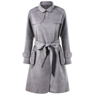 Faux Suede Belted Convertible Trench CoatJackets &amp; Coats<br>Faux Suede Belted Convertible Trench Coat<br><br>Clothes Type: Trench<br>Collar: Convertible Collar<br>Material: Polyester<br>Package Contents: 1 x Coat  1 x Belt<br>Pattern Type: Solid<br>Season: Fall, Spring<br>Shirt Length: Long<br>Sleeve Length: Full<br>Style: Fashion<br>Type: Slim<br>Weight: 0.8340kg<br>With Belt: Yes