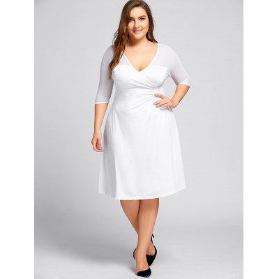 Mesh Panel Plus Size Empire Waist DressPlus Size Dresses<br>Mesh Panel Plus Size Empire Waist Dress<br><br>Dresses Length: Knee-Length<br>Material: Polyester, Spandex<br>Neckline: V-Neck<br>Package Contents: 1 x Dress<br>Pattern Type: Solid<br>Season: Spring, Fall<br>Silhouette: Sheath<br>Sleeve Length: 3/4 Length Sleeves<br>Style: Brief<br>Weight: 0.3600kg<br>With Belt: No