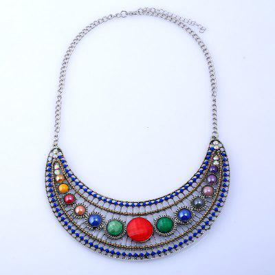 Hollow Beaded Colorful Rhinestone Necklace