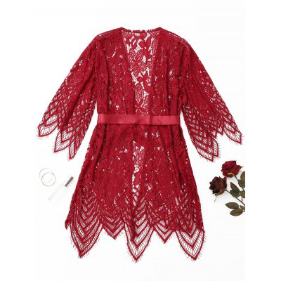 Scalloped Belted Lace Night-robePajamas<br>Scalloped Belted Lace Night-robe<br><br>Material: Polyester<br>Package Contents: 1 x Robe<br>Pattern Type: Solid<br>Weight: 0.2900kg