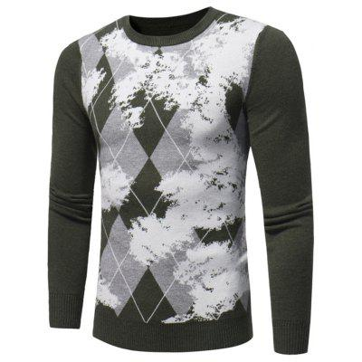 Buy ARMY GREEN L Crew Neck Argyle Sweater for $32.92 in GearBest store