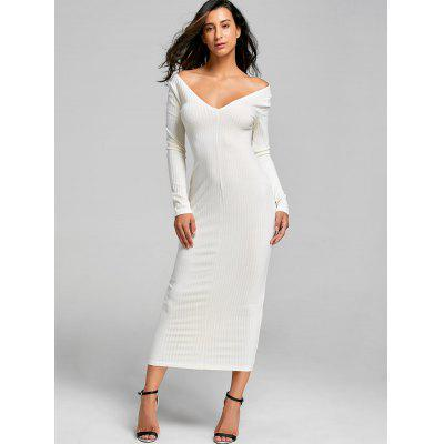 Open Shoulder Ribbed Maxi Bodycon DressWomens Dresses<br>Open Shoulder Ribbed Maxi Bodycon Dress<br><br>Dresses Length: Ankle-Length<br>Elasticity: Elastic<br>Material: Cotton, Polyester<br>Neckline: V-Neck<br>Occasion: Club, Casual , Night Out<br>Package Contents: 1 x Dress<br>Pattern Type: Solid Color<br>Season: Fall, Spring<br>Silhouette: Bodycon<br>Sleeve Length: Long Sleeves<br>Style: Sexy &amp; Club<br>Weight: 0.3800kg<br>With Belt: No