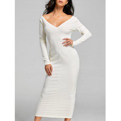 Buy OFF-WHITE L Open Shoulder Ribbed Maxi Bodycon Dress for $31.86 in GearBest store