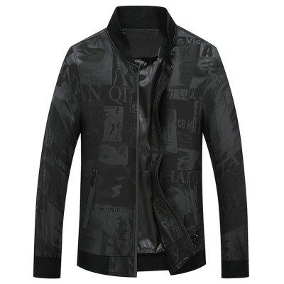 Buy BLACK 2XL Graphic Print Zip Pocket Bomber Jacket for $49.78 in GearBest store