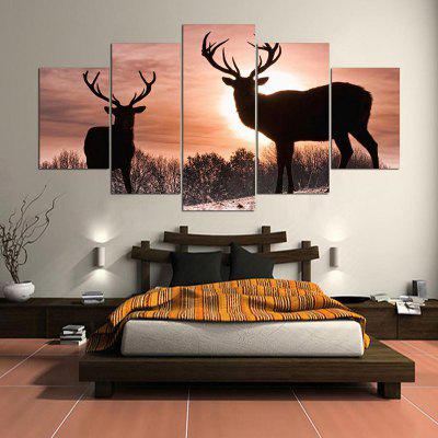 Sunset Elks Pattern Wall Art Split Canvas Paintings
