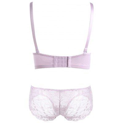 Sheer Lace Push Up Bra SetLingerie &amp; Shapewear<br>Sheer Lace Push Up Bra Set<br><br>Bra Style: Push Up<br>Closure Style: Three Hook-and-eye<br>Cup Shape: Half Cup(1/2 Cup)<br>Embellishment: Lace<br>Materials: Cotton, Nylon, Spandex<br>Package Contents: 1 x Bra  1 x Panties<br>Pattern Type: Others<br>Strap Type: Adjusted-straps<br>Style: Sweet<br>Support Type: Wire Free<br>Weight: 0.2500kg