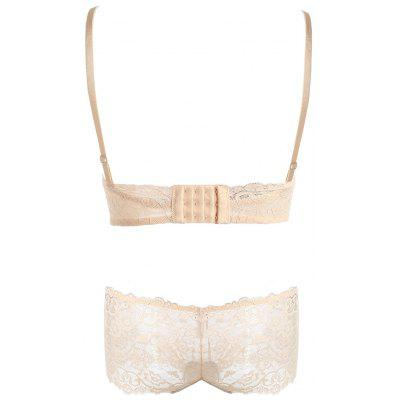 Lace Criss Cross Back Bra SetLingerie &amp; Shapewear<br>Lace Criss Cross Back Bra Set<br><br>Bra Style: Padded<br>Closure Style: None<br>Cup Shape: Half Cup(1/2 Cup)<br>Embellishment: Criss-Cross,Lace<br>Materials: Nylon, Polyester, Spandex<br>Package Contents: 1 x Bra  1 x Panties<br>Pattern Type: Solid<br>Strap Type: Adjusted-straps<br>Style: Sweet<br>Support Type: Wire Free<br>Weight: 0.2500kg