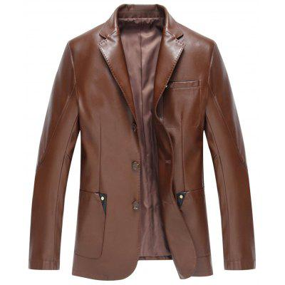 Lapel Single Breasted Faux Leather Blazer