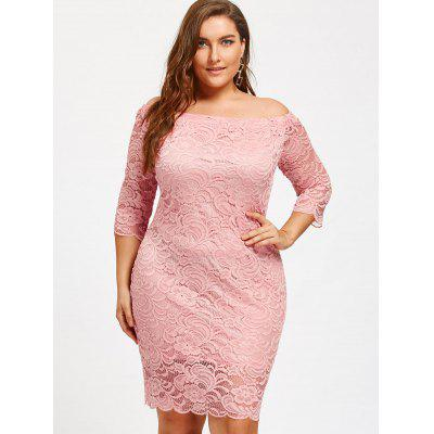Off Shoulder Plus Size Lace DressPlus Size Dresses<br>Off Shoulder Plus Size Lace Dress<br><br>Dresses Length: Knee-Length<br>Elasticity: Micro-elastic<br>Material: Lace, Polyester<br>Neckline: Off The Shoulder<br>Package Contents: 1 x Dress<br>Pattern Type: Solid Color<br>Season: Fall, Spring, Winter<br>Silhouette: Sheath<br>Sleeve Length: 3/4 Length Sleeves<br>Style: Brief<br>Waist: Natural<br>Weight: 0.3700kg<br>With Belt: No