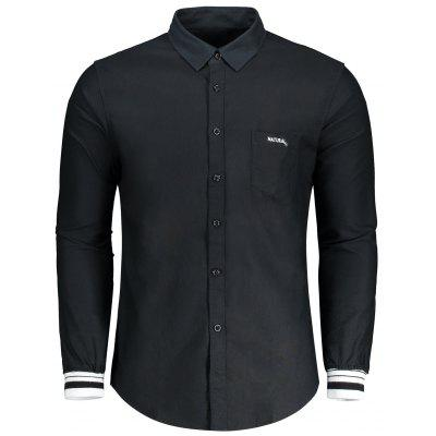 Letter Embroidery Button Fly Shirt