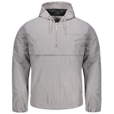 Buy GRAY L Hooded Half-zip Jacket for $32.97 in GearBest store