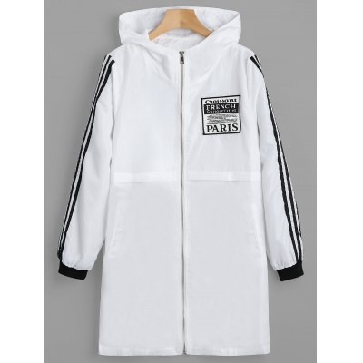 Buy WHITE M Zip Up Badge Patched Hooded Coat for $33.04 in GearBest store