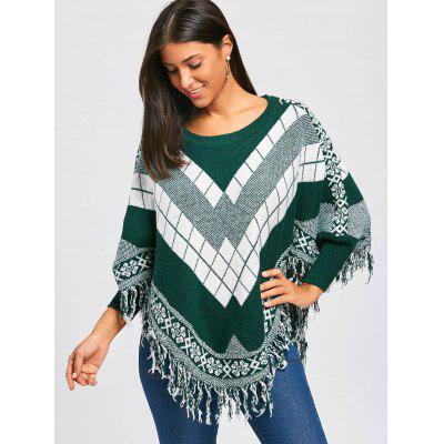 Geometric Pattern Cape Tassel SweaterSweaters &amp; Cardigans<br>Geometric Pattern Cape Tassel Sweater<br><br>Collar: Crew Neck<br>Material: Polyester, Spandex<br>Package Contents: 1 x Sweater<br>Pattern Type: Geometric<br>Season: Winter, Fall<br>Sleeve Length: Full<br>Style: Fashion<br>Type: Pullovers<br>Weight: 0.4700kg