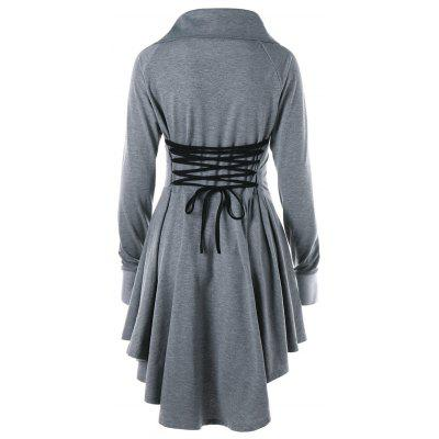 Raglan Sleeve Lace Up Mini Swing DressWomens Dresses<br>Raglan Sleeve Lace Up Mini Swing Dress<br><br>Dresses Length: Knee-Length<br>Material: Polyester, Spandex<br>Neckline: Turn-down Collar<br>Package Contents: 1 x Dress<br>Pattern Type: Solid<br>Season: Spring, Fall<br>Silhouette: Asymmetrical<br>Sleeve Length: Long Sleeves<br>Style: Brief<br>Weight: 0.4500kg<br>With Belt: No