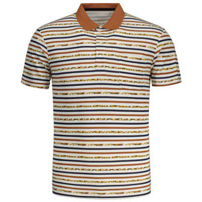 Mens Striped Short Sleeve Polo Tee