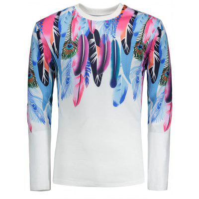 Colorful Feathers Pattern Long Sleeves T-shirt