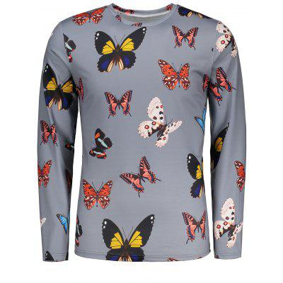 Colorful Butterflies Pattern Long Sleeves T-shirt