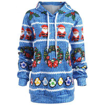 Plus Size Christmas Berry Bowknot Print Hoodie