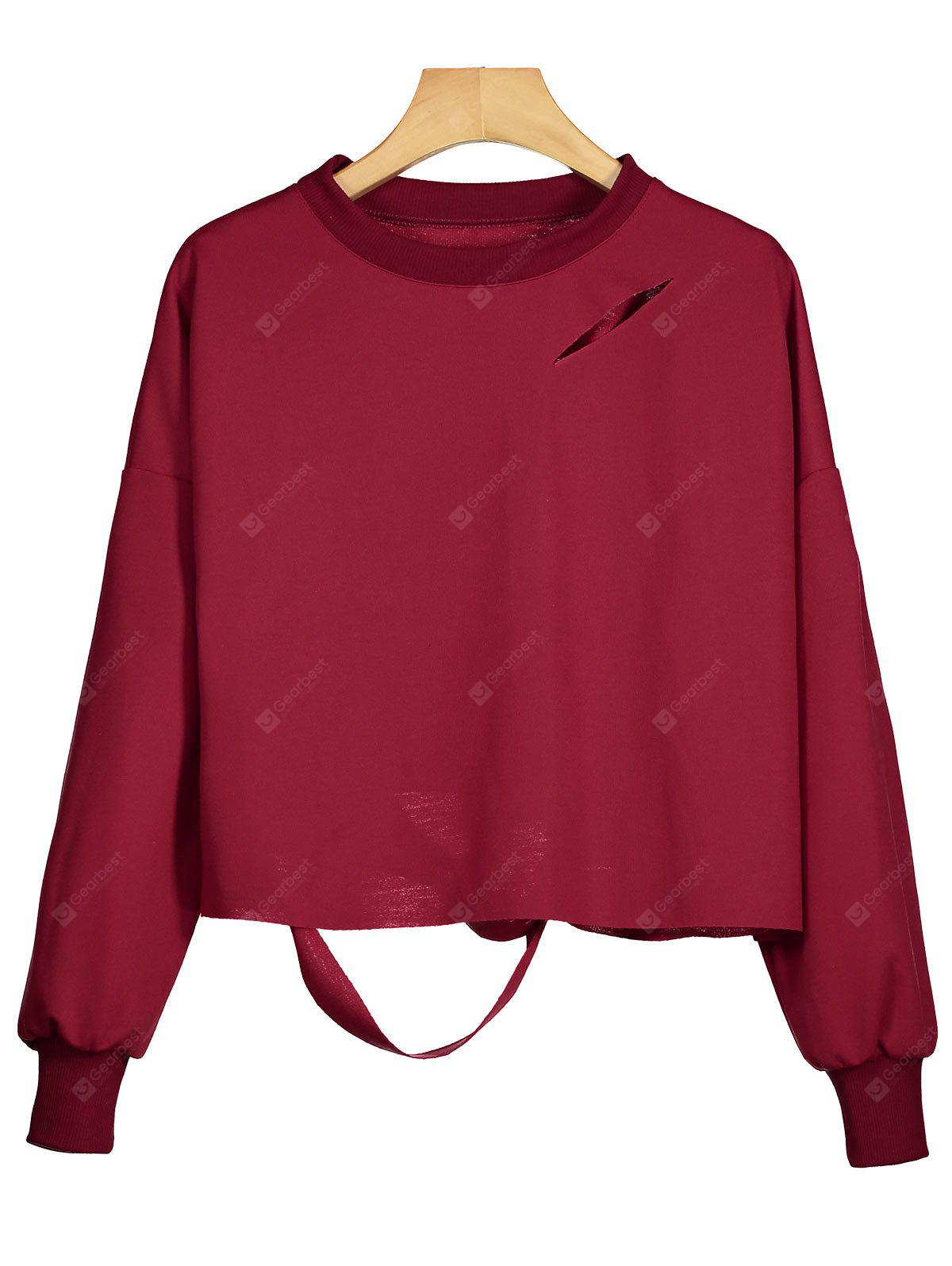 Drop Shoulder Cut Out Sweatshirt
