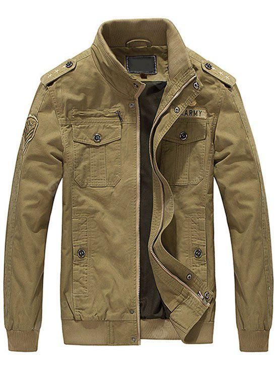 KHAKI 4XL Embroidered Patch Mens Jacket