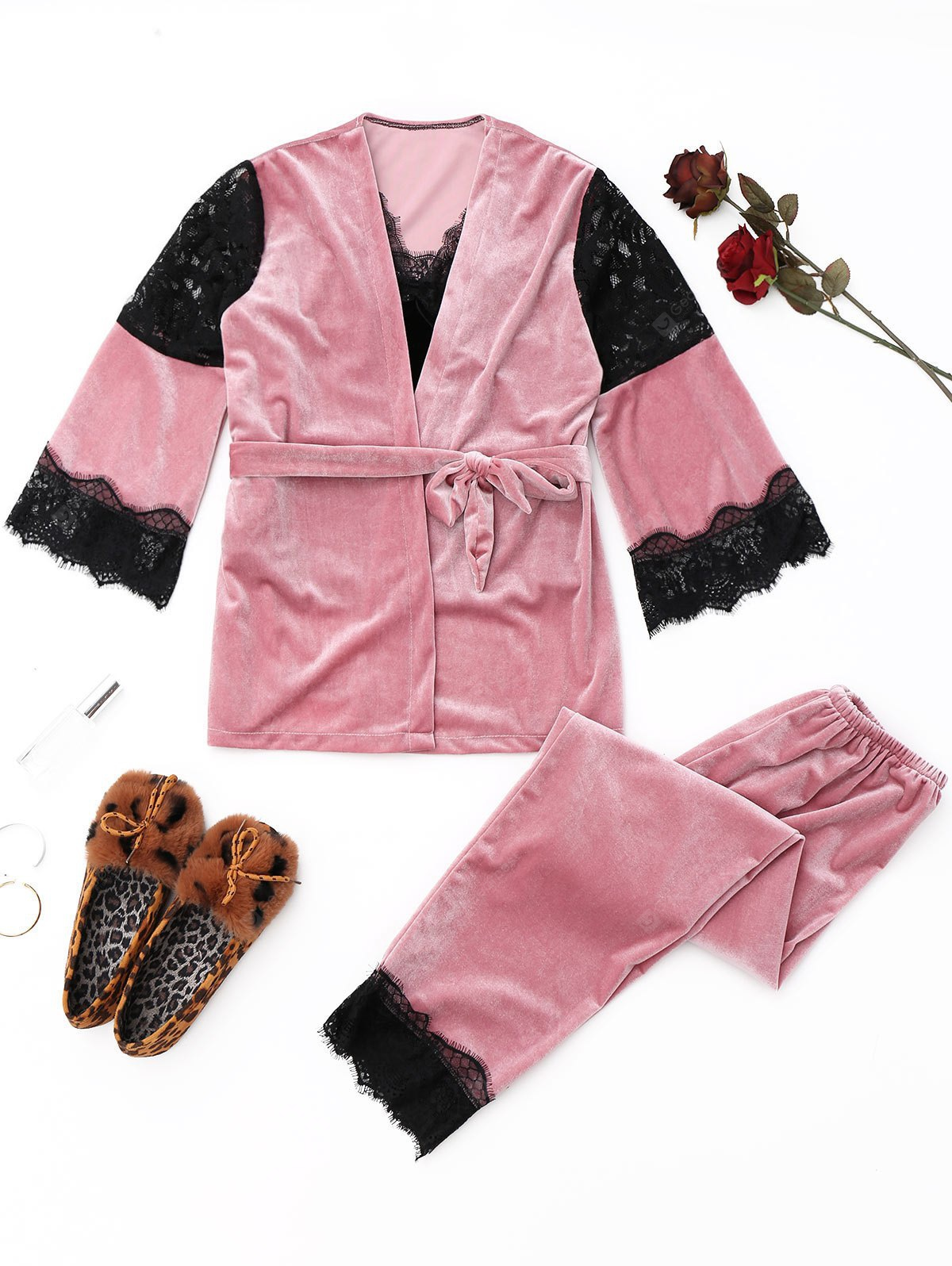 Velvet Lace Panel Pajamas Set