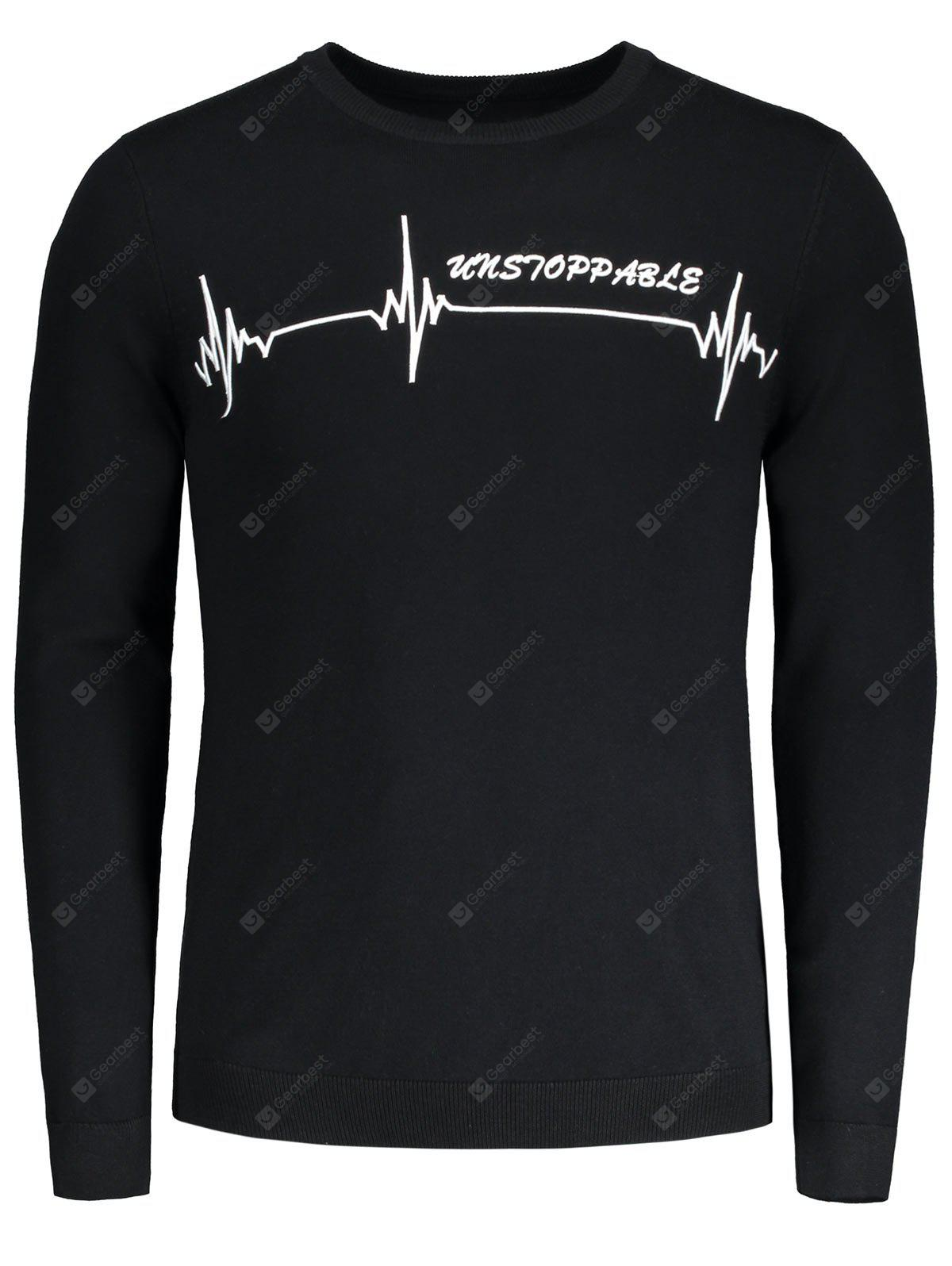 Crew Neck Graphic Embroidered Sweater