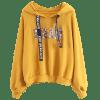 Letter Embroidered Sequined Drawstring Hoodie - YELLOW