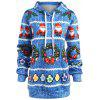 Plus Size Christmas Berry Bowknot Print Hoodie - BLUE