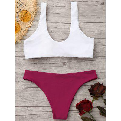 Knotted Bralette Bikini Top and BottomsLingerie &amp; Shapewear<br>Knotted Bralette Bikini Top and Bottoms<br><br>Bra Style: Padded<br>Elasticity: Elastic<br>Gender: For Women<br>Material: Nylon, Polyester, Spandex<br>Neckline: Scoop Neck<br>Package Contents: 1 x Top  1 x Bottoms<br>Pattern Type: Solid<br>Support Type: Wire Free<br>Swimwear Type: Bikini<br>Waist: Low Waisted<br>Weight: 0.2000kg