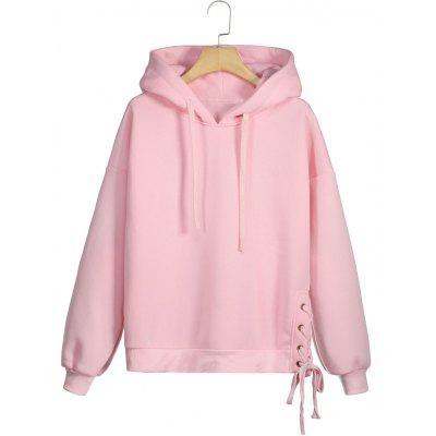 Buy PINK L Side Lace-up Fleece Hoodie for $29.17 in GearBest store