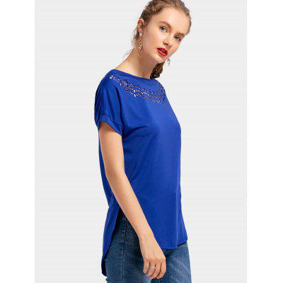 High Low Hollow Out TeeTees<br>High Low Hollow Out Tee<br><br>Collar: Round Neck<br>Embellishment: Hollow Out<br>Material: Polyester<br>Package Contents: 1 x Tee<br>Pattern Type: Solid Color<br>Sleeve Length: Short<br>Style: Casual<br>Weight: 0.2400kg
