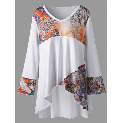 Buy WHITE 5XL Plus Size Tribal Print High Low Tunic T-shirt for $21.93 in GearBest store