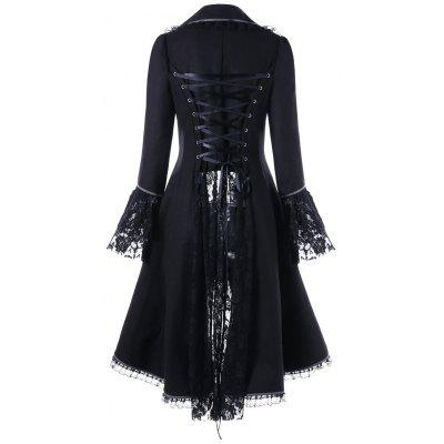 Lace Panel Lace-up High Low CoatJackets &amp; Coats<br>Lace Panel Lace-up High Low Coat<br><br>Clothes Type: Others<br>Collar: Lapel<br>Embellishment: Lace<br>Material: Polyester<br>Package Contents: 1 x Coat<br>Pattern Type: Solid<br>Season: Fall, Winter<br>Shirt Length: Long<br>Sleeve Length: Full<br>Style: Fashion<br>Type: Asymmetric Length<br>Weight: 0.9590kg