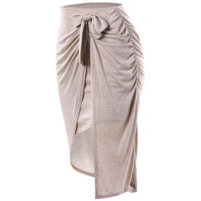 Bowknot Draped Slit Pencil SkirtSkirts<br>Bowknot Draped Slit Pencil Skirt<br><br>Length: Mid-Calf<br>Material: Polyester, Spandex<br>Package Contents: 1 x Skirt<br>Pattern Type: Solid<br>Season: Fall<br>Silhouette: Sheath<br>Weight: 0.2000kg