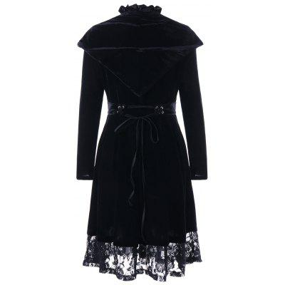 Velvet Ruffle Neck Lace Trim Long Hooded CoatJackets &amp; Coats<br>Velvet Ruffle Neck Lace Trim Long Hooded Coat<br><br>Clothes Type: Others<br>Collar: Stand-Up Collar<br>Embellishment: Lace<br>Material: Polyester<br>Package Contents: 1 x Coat<br>Pattern Type: Solid<br>Season: Fall, Winter<br>Shirt Length: Long<br>Sleeve Length: Full<br>Style: Fashion<br>Type: Slim<br>Weight: 0.7330kg