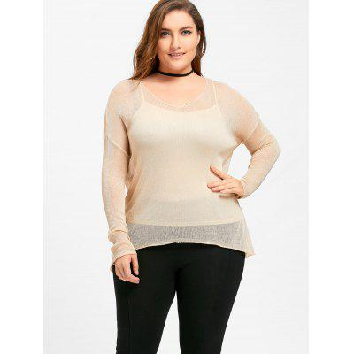 V Neck Plus Size See Thru SweaterPlus Size<br>V Neck Plus Size See Thru Sweater<br><br>Collar: V-Neck<br>Material: Polyester, Spandex<br>Package Contents: 1 x Sweater<br>Pattern Type: Solid<br>Season: Fall, Spring<br>Sleeve Length: Full<br>Style: Fashion<br>Type: Pullovers<br>Weight: 0.2050kg