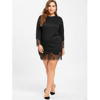 Plus Size Long Sleeve Lace Trim DressPlus Size Dresses<br>Plus Size Long Sleeve Lace Trim Dress<br><br>Dresses Length: Mini<br>Material: Polyester, Spandex<br>Neckline: Round Collar<br>Package Contents: 1 x Dress<br>Pattern Type: Solid<br>Season: Spring, Fall<br>Silhouette: Sheath<br>Sleeve Length: Long Sleeves<br>Style: Brief<br>Weight: 0.4600kg<br>With Belt: No