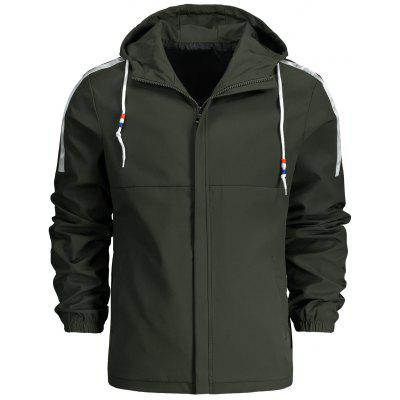 Mens Hooded Drawstring Zippered Jacket
