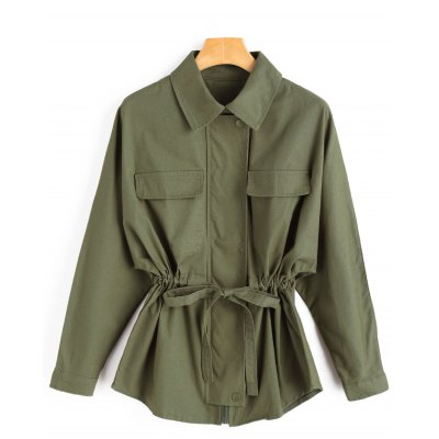 Buy ARMY GREEN L Waist Drawstring Zip Jacket for $34.98 in GearBest store