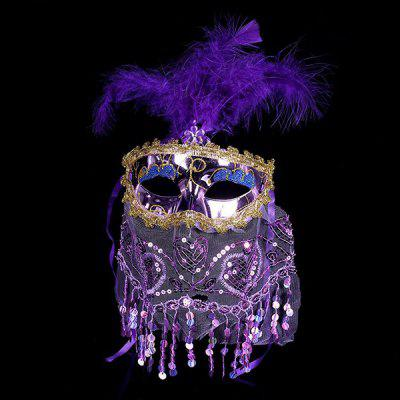 Prom Party Indian Princess Belly Dance Tulle Feather Mask
