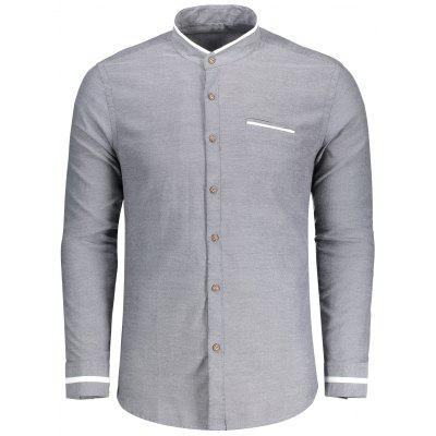 Mens Button Up Stand Neck Shirt
