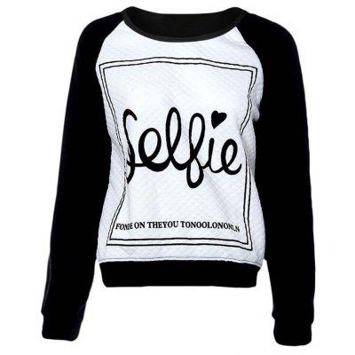 Buy WHITE AND BLACK XL Letter Print Plus Size Color Block Sweatshirt for $15.58 in GearBest store