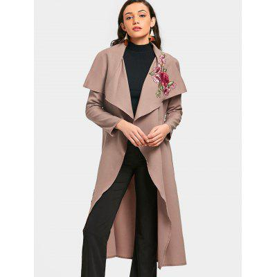 Flower Applique Wrapped Trench Coat